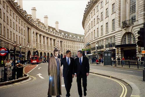 President Obama, Gordon Brown with an Unidentified Man in London
